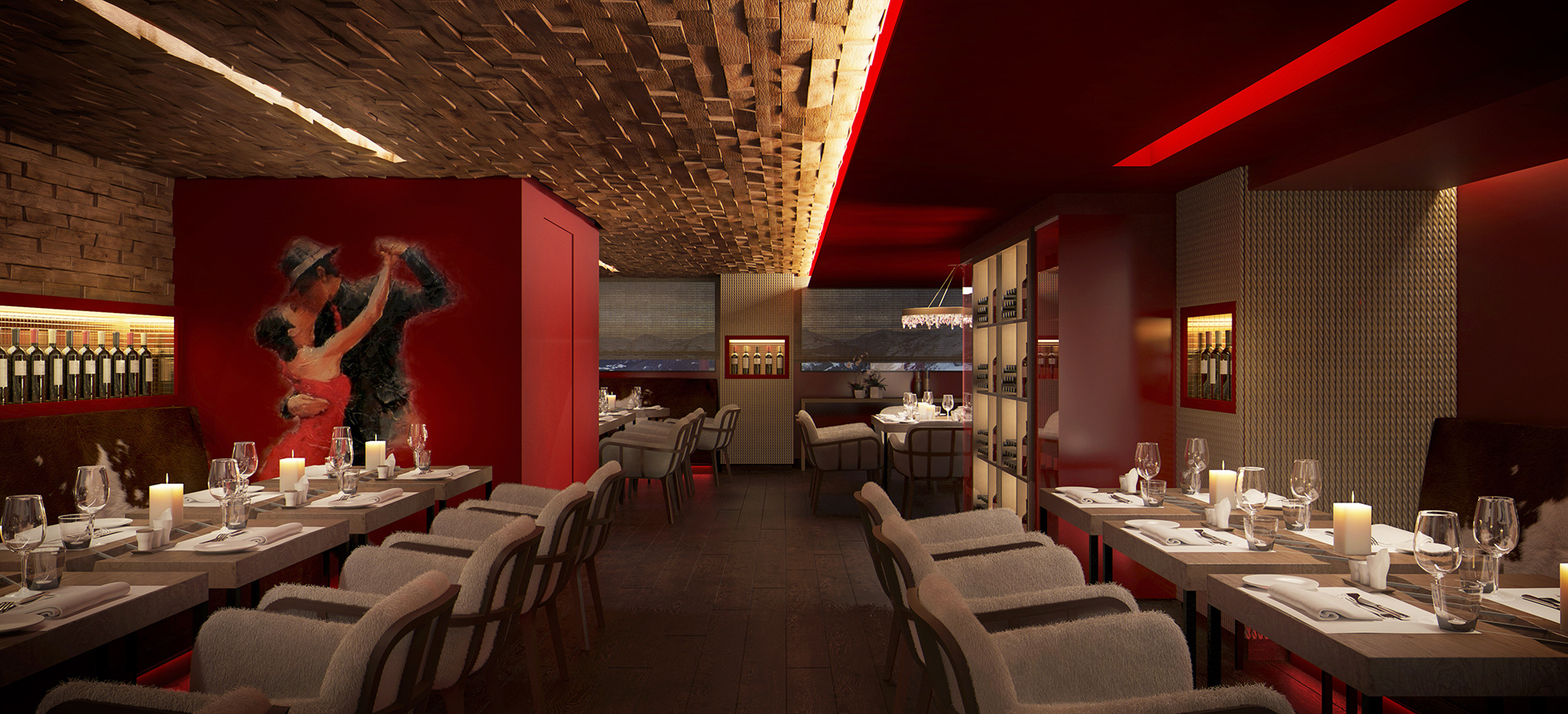Studio Persevoir 3D projet du restaurant b-fire de l hotel des neiges a courchevel