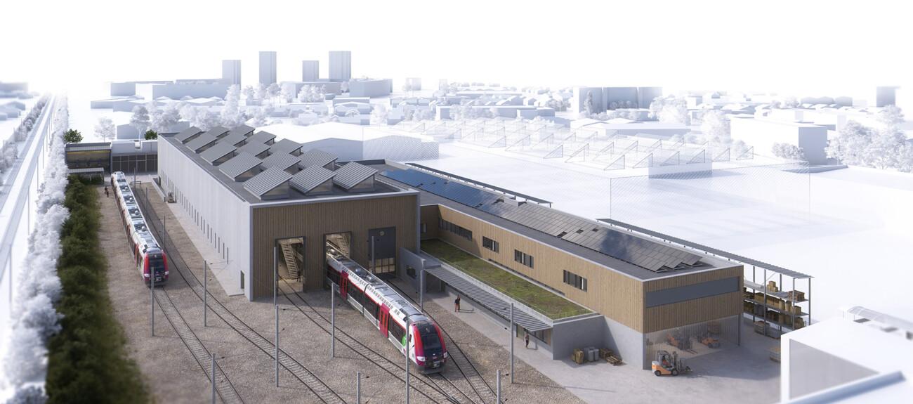 image 3d du concours de technicentre SNCF Val Notre Dame en collaboration avec l'agence Jean François Schmit et Associés