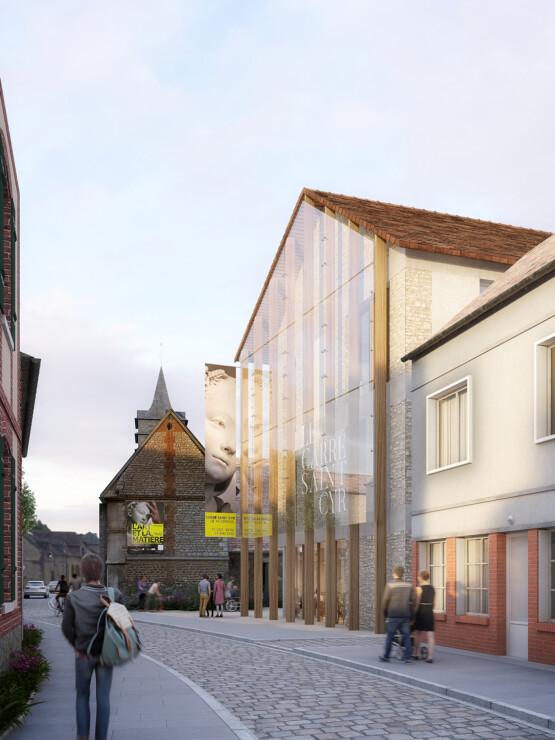 Image 3d du concours lauréat du Carré Saint Cyr, pepinière d'artisanat d'art, au Vaudreuil. En collaboration avec l'agence Bettinger Desplanques