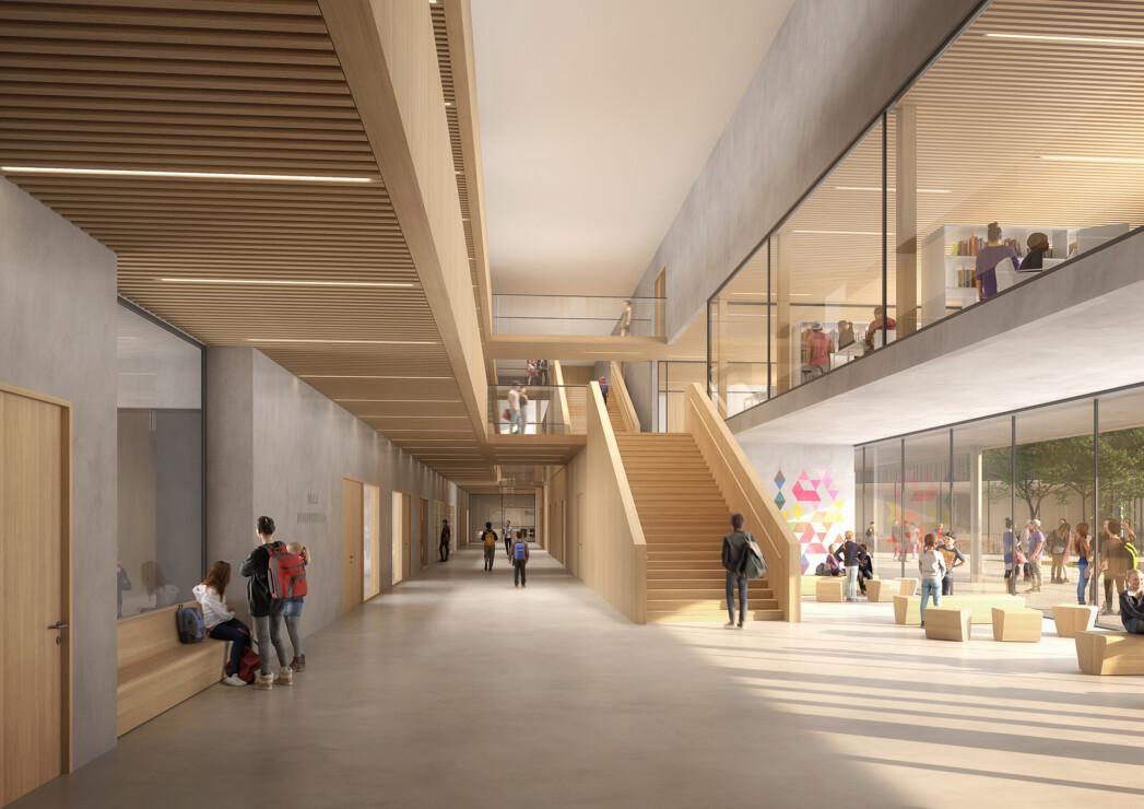 Concours d'architecture du collège et gymnase des Linandes à Cergy Pontoise en collaboration avec l'agence Gaëtan Le Penhuel Architectes. Concours lauréat