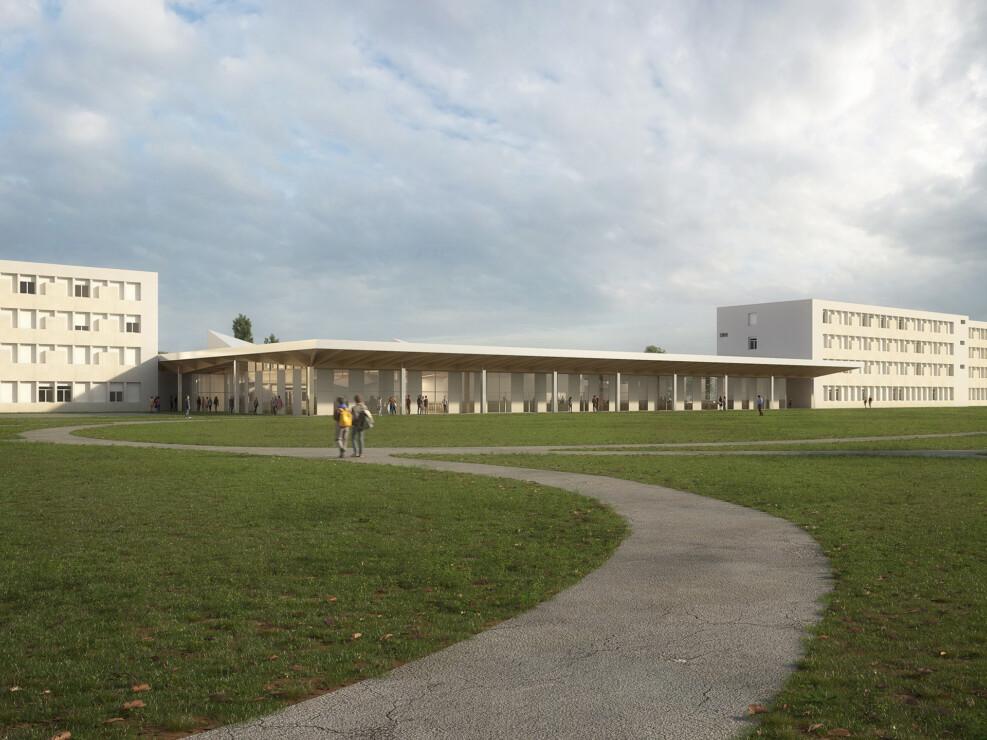 Concours d'architecture du futur pôle restauration du lycée Ernest Bichat à Lunéville en collaboration avec l'agence BMT & Associés. Concours lauréat