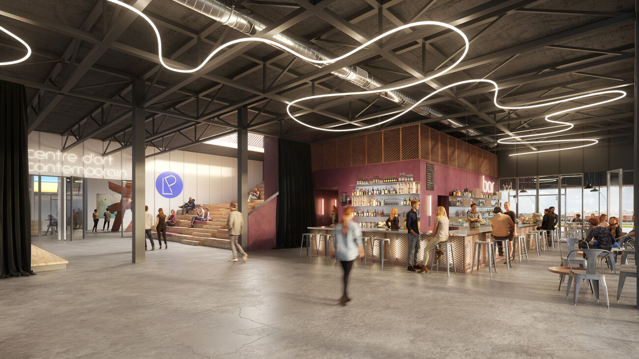 Image 3d de l'Espace André Graillot transformé en lieu culturel contemporain avec des expositions, un bar restaurant, des ateliers pour les enfants. En collaboration avec l'agence Bettinger Desplanques et Le Portique