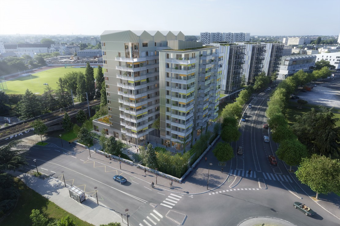 "Studio Persevoir Alexandre Chemetoff et Associés Logements ""Bamboo"" Plan 3D Chantier 3D"