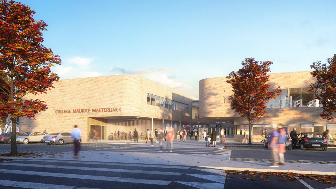 Image 3d du projet de concours du collège Maurice Maeterlinck à Luneray en Normandie. Ambiance automnale et bâtiment en briques. En collaboration avec l'Atelier Bettinger Desplanques.