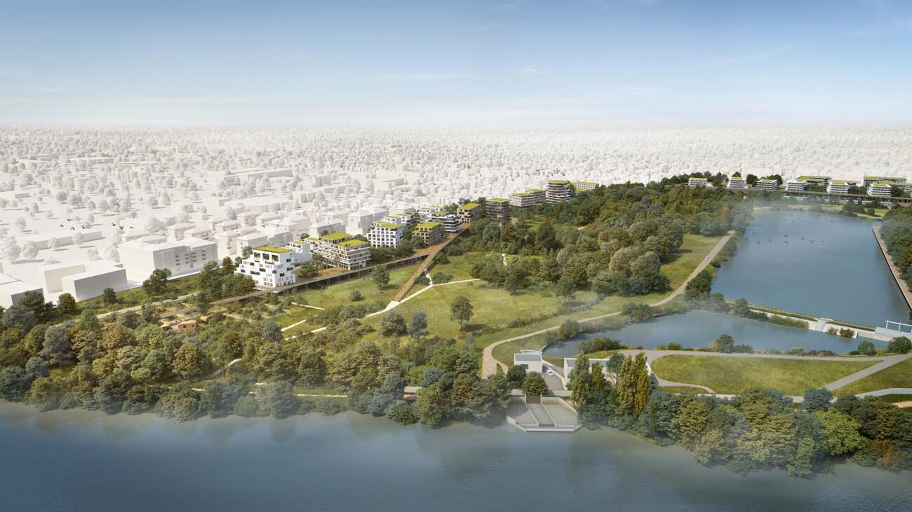 Image 3d du projet de l'eco quartier Voeux à Orly-sur-Seine. Projet urbain, d'architecture (de logements) et de paysagisme en collaboration avec TN Plus, Sathy Architectes et EAP ORSA