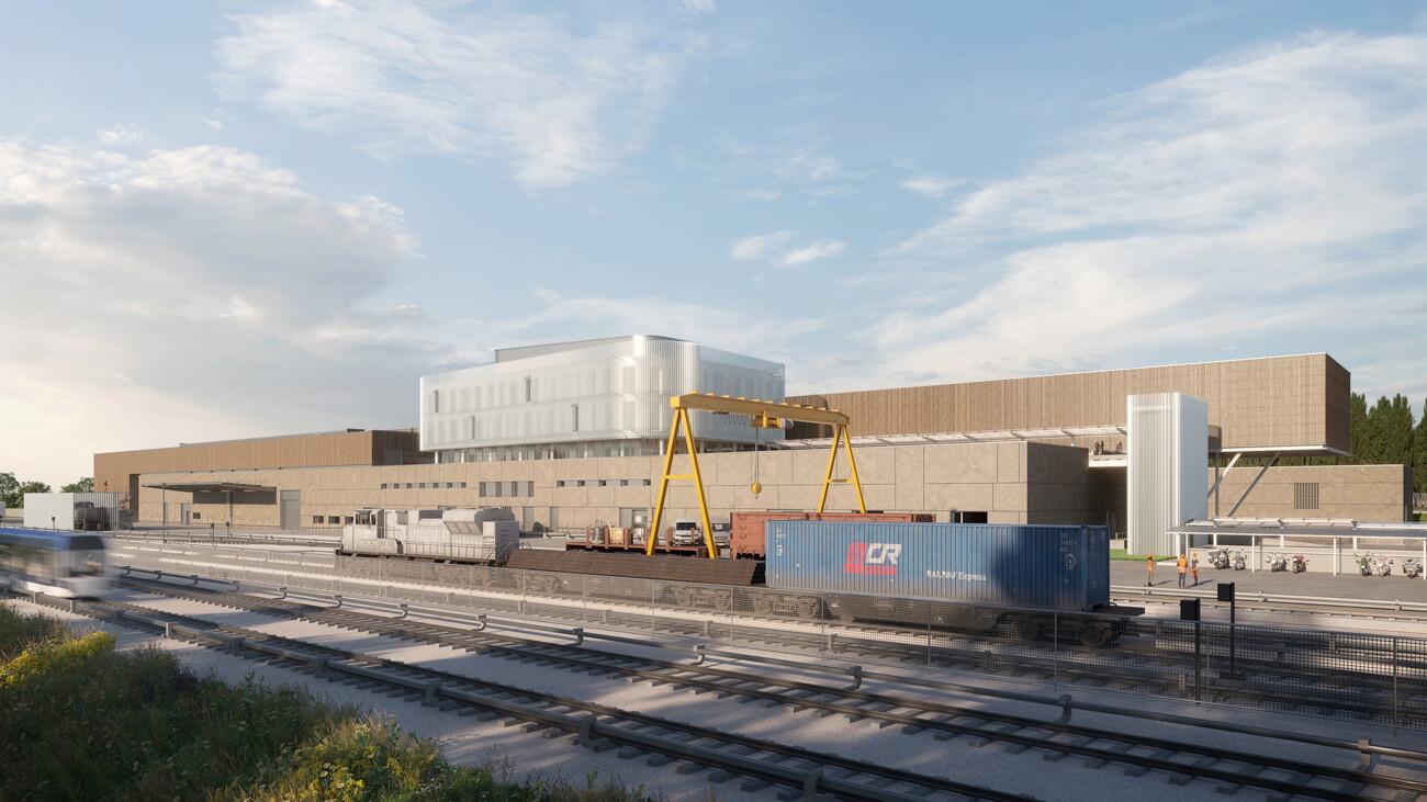 Image 3d du futur centre d'exploitation de la ligne 18 du métro dans le cadre du Grand Paris Express à Palaiseau. Image 3d en collaboration avec l'agence jean François Schmit Architectes et Associés.