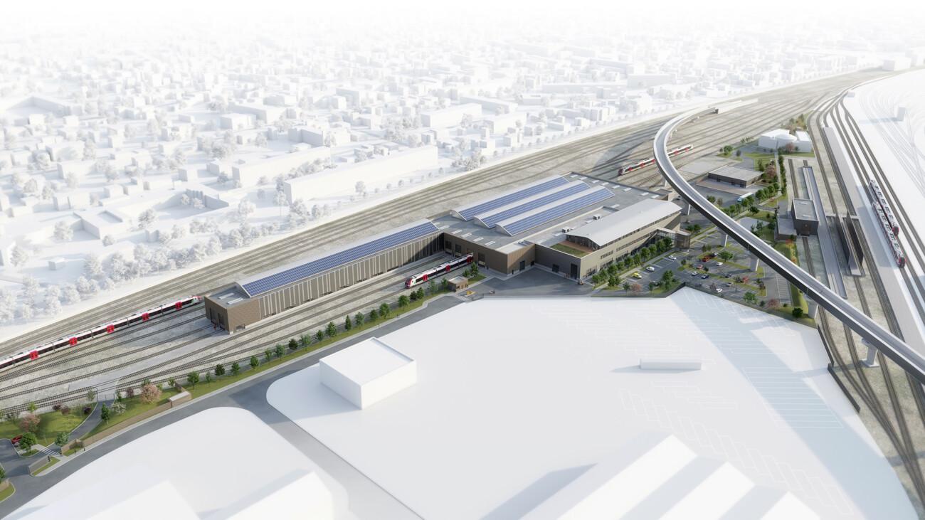 Image 3d du projet d'architecture du technicentre sncf à Mantes-la-Jolie pour entretien et réparation des trains. En collaboration avec l'agence Jean François Schmit Architectes et Associés.