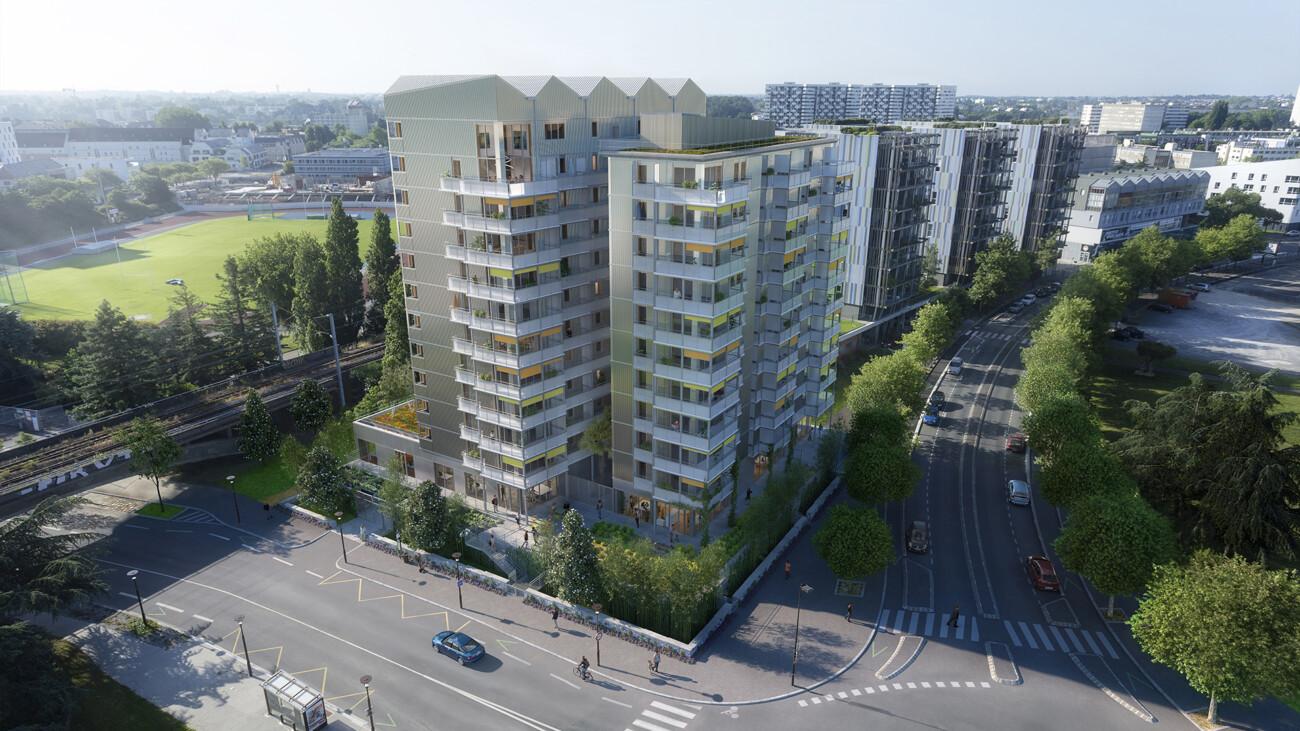 Image 3d, photo insertion du projet de logements bamboo à Nantes. En collaboration avec l'agence Alexandre Chemetoff et Associés