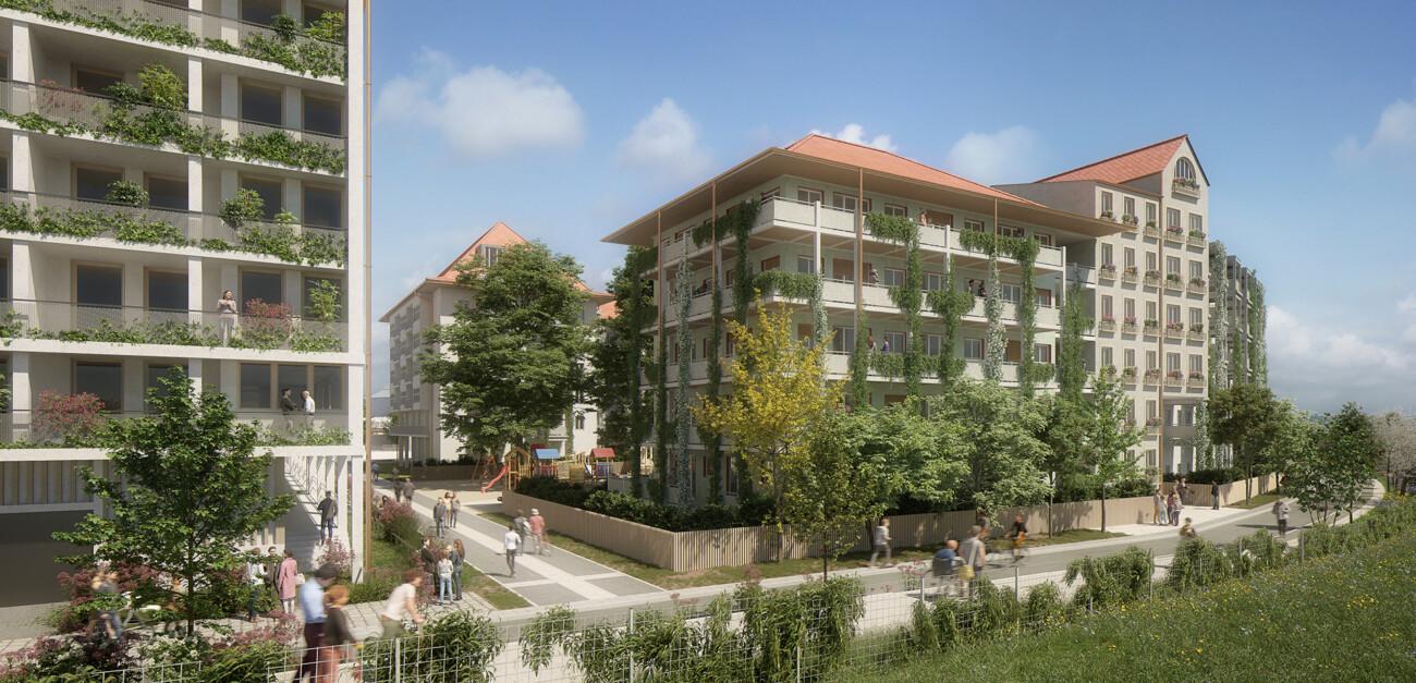Image 3d du projet d'aménagement du quartier Coop à Strasbourg. Projet urbain et paysager avec programme mixte de logements, de commerces, de bureaux. En collaboration avec l'agence Alexandre Chemetoff et Associés.