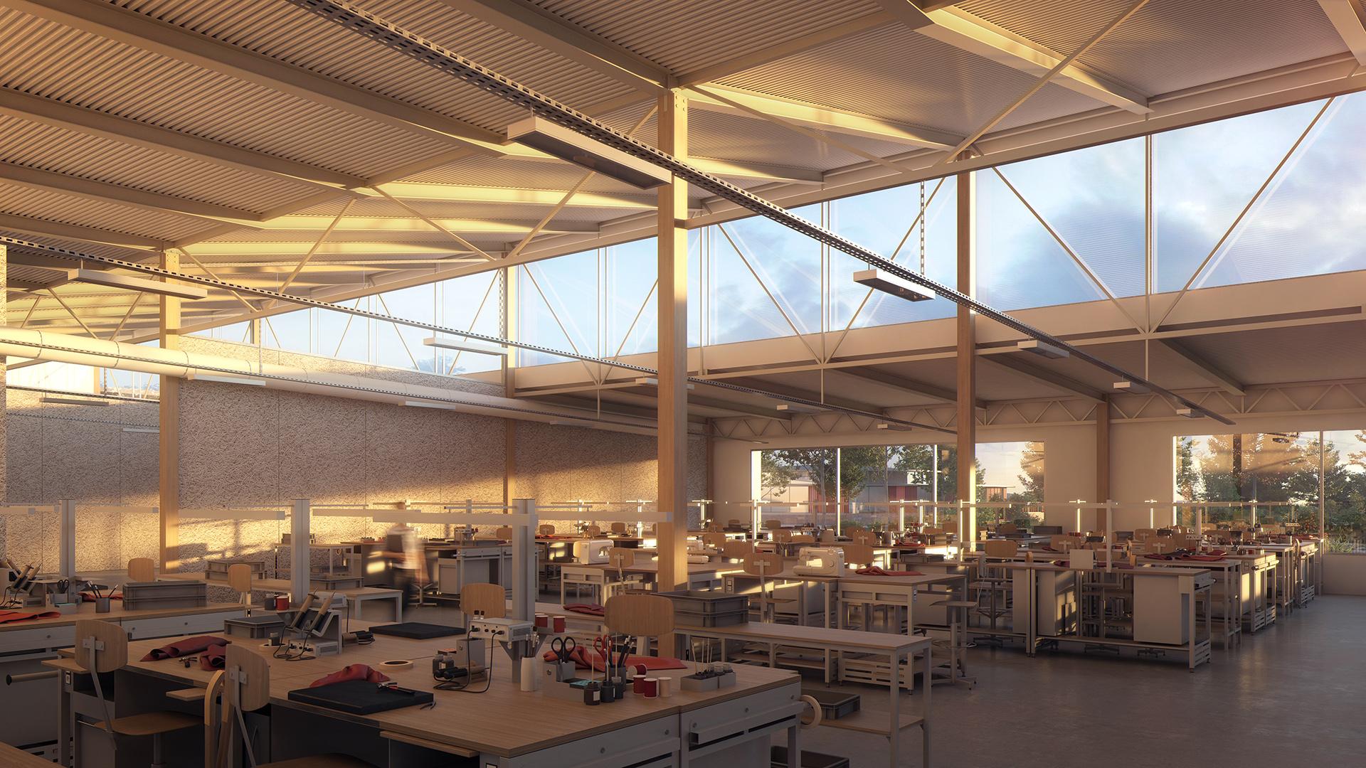 image 3d du projet d'architecture et de paysagisme de la future maroquinerie Hermès à Montereau Fault Yonne. Image 3d du Studio Persevoir en collaboration avec l'agence Jean Francois Schmit Architectes et Associés.