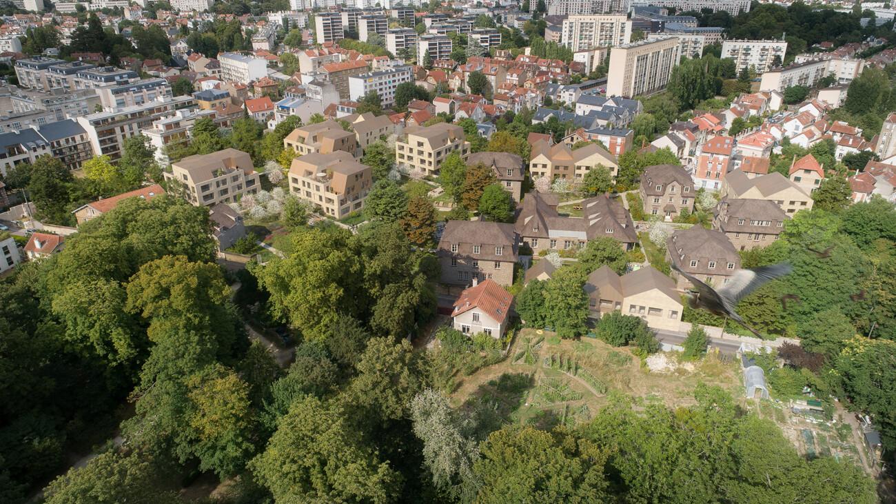 Image 3d du projet de concours de logements et d'un parc paysager à Versailles Saint Charles. Concours non lauréat en collaboration avec l'agence TN Plus, Gaetan Le Penhuel et Kaufman et Broad