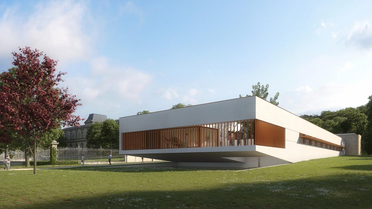 Image 3d du projet de concours d'un nouveau bâtiment pour le centre universitaire de Charente à La Couronne près de Angouleme. En collaboration avec l'agence Beaudouin Engel Architectes.