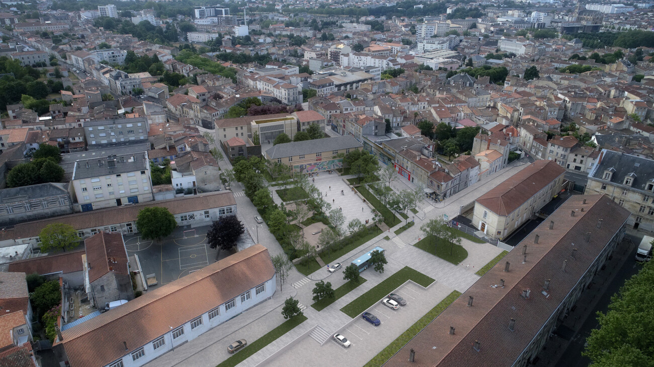 Image 3d du projet de concours de la place Denfert Rochereau à Niort. Projet d'aménagement urbain et de paysager en collaboration avec l'agence Beaudouin Engel Architectes.