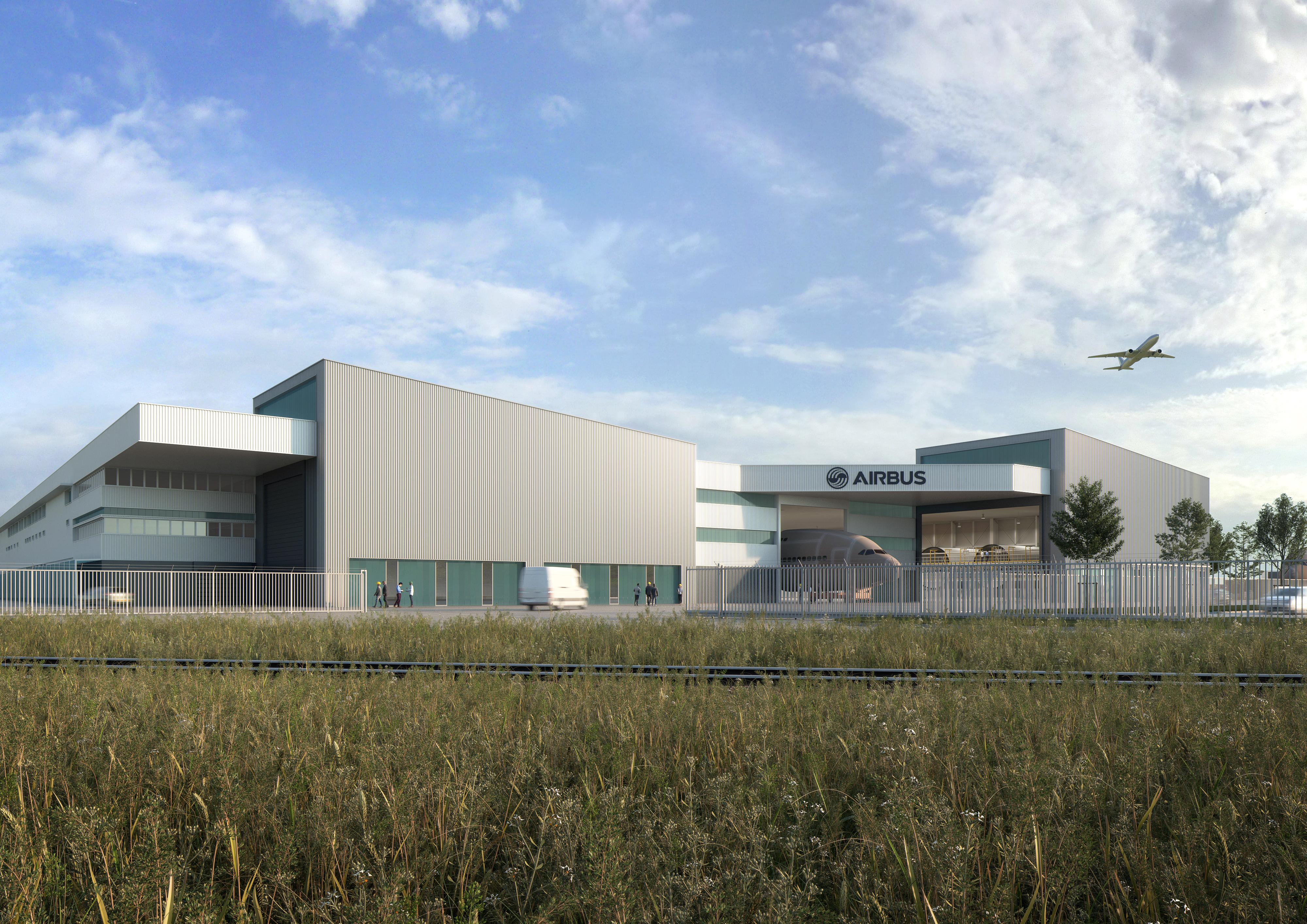Studio Persevoir Jean François Schmit Architectes et Associés Aménagement Du Centre De Maintenance Airbus St Nazaire Loire-Atlantique Image 3D Perspective 3D