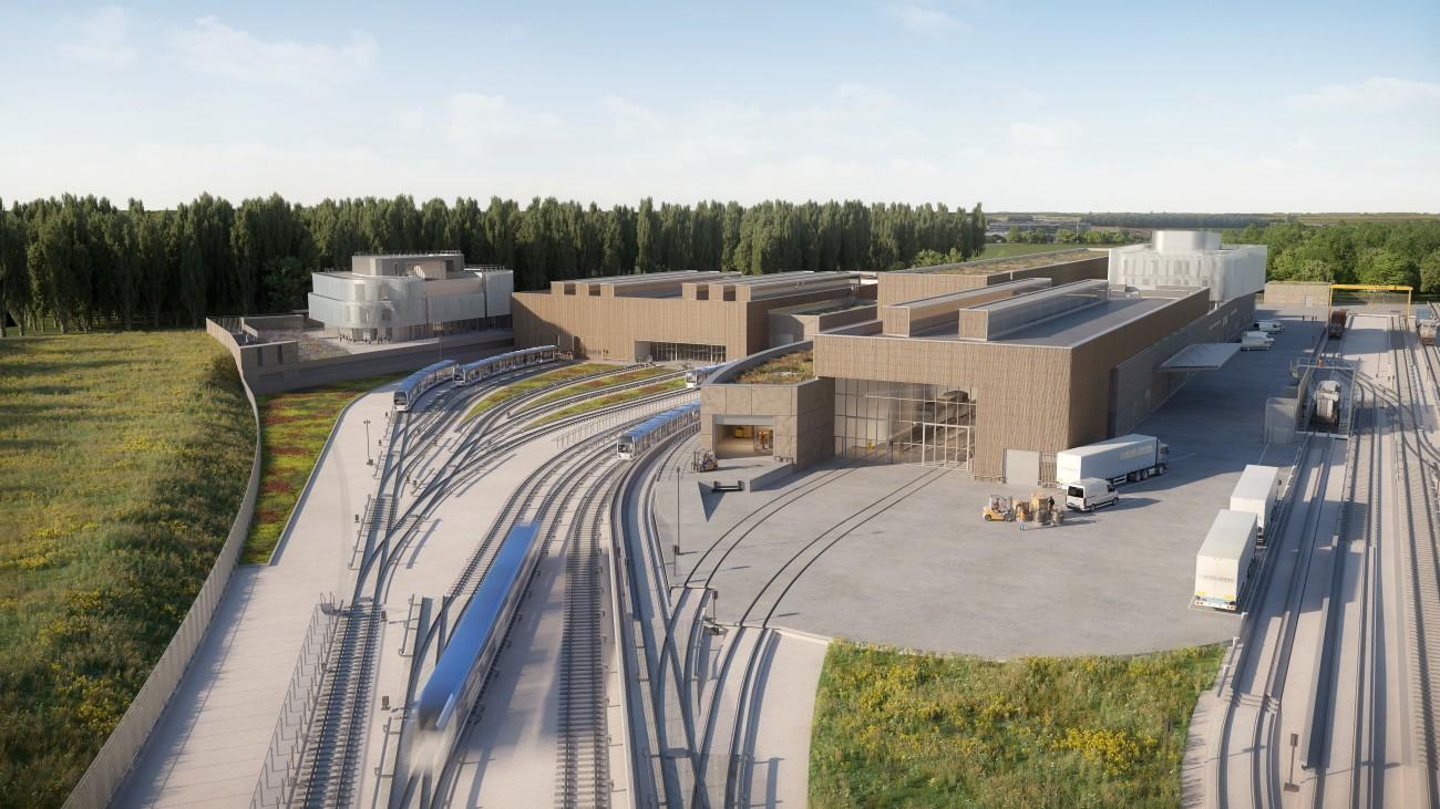 Studio Persevoir Projet Ligne 18 Vue Aérienne Metro Du Centre D'exploitation Du Grand Paris Express Palaiseau Image 3D Perspective 3D